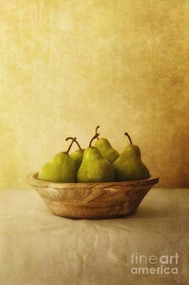 Pears In A Wooden Bowl Art Print by Priska Wettstein
