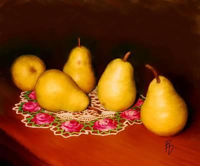 Doily Digital Art - Pears On A Doily by Ric Darrell