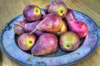 Pears On A Plate Art Print by Victor Marsh