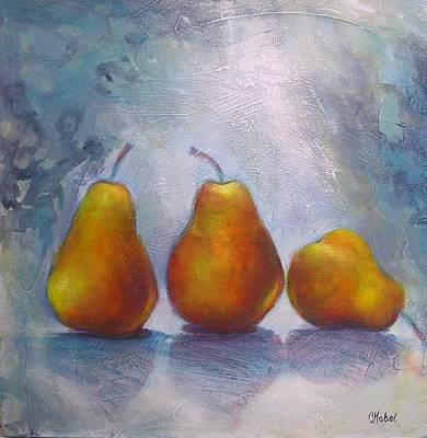 Art Print featuring the painting Pears On Blue Original Acrylic Painting by Chris Hobel
