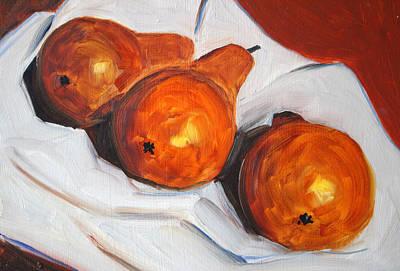 Pears On Cloth Art Print