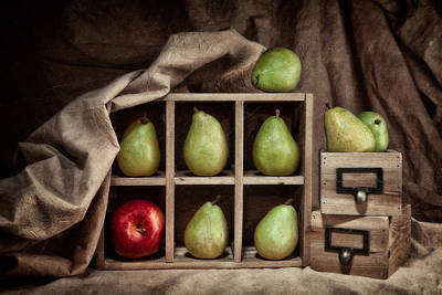 Fabric Art Photograph - Pears On Display Still Life by Tom Mc Nemar