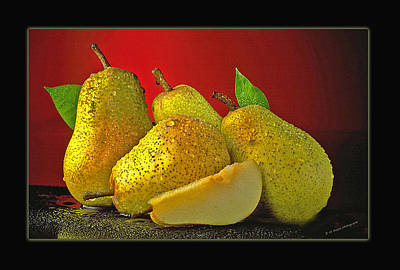 Pears On Red Background Art Print by Ed Hoppe