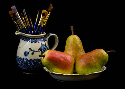 Pears Paintbrushes And Pottery Art Print