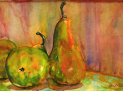 Stillife Painting - Pears Still Life Art  by Blenda Studio