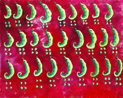 Peas On A Red Background Art Print by Julie Nicholls