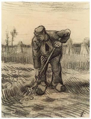 Potato Drawing - Peasant Digging Up Potatoes by Vincent Van Gogh