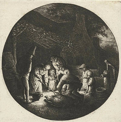 Candle Lit Drawing - Peasant Family And The Slaughter Of A Pig by Adriaen Van Ostade