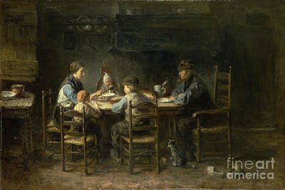 Jozef Israels Painting - Peasant Family At The Table by Celestial Images