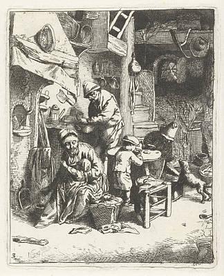 Peasant Family In Interior, Print Maker Abraham Bloteling Art Print