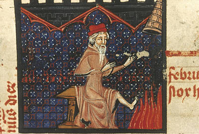 Psalter Painting - Peasant Fireside, 14th C by Granger