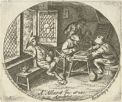 Backgammon Drawing - Peasant Interior With Backgammon Players by Artokoloro