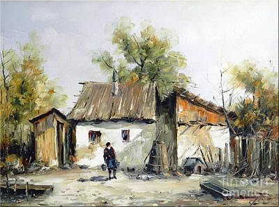 Peasant Yard Print by Petrica Sincu