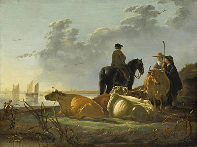 Peasants And Cattle By The River Merwede Art Print by Aelbert Cuyp