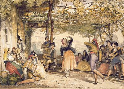 Grapevine Drawing - Peasants Dancing The Bolero by John Frederick Lewis