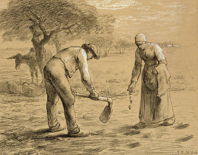 Couple Drawing - Peasants Planting Potatoes  by Jean-Francois Millet