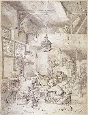 Peasants Playing Backgammon And Merry-making In A Tavern Art Print