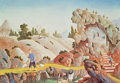 Chinese Peasant Painting - Peasants Quarrying And Collecting Kaolin For A Porcelain Factory by Chinese School