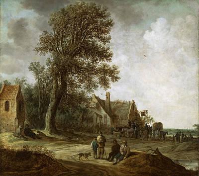 Painting - Peasants Resting Before An Inn by Jan van Goyen