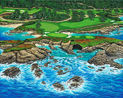 Painting - Pebble Beach 15th Hole-north by Jane Girardot