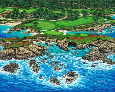 Pebble Beach 15th Hole-north Art Print