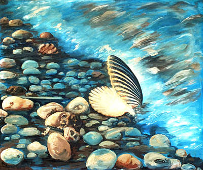 Painting - Pebble Beach And Shells by Chris McCullough