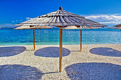 Photograph - Pebble Beach And Turquoise Sea Umbrella by Brch Photography