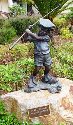 Photograph - Pebble Beach Boy Statue by Jeff Lowe