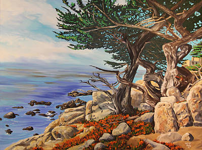 Beach Painting - Pebble Beach Coastline by Kevin Doty