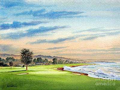 Sports Paintings - Pebble Beach Golf Course 18Th Hole by Bill Holkham