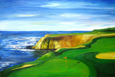 Art Print featuring the painting Pebble Beach Golf Course by Sheri  Chakamian