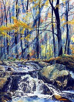 Waterfalls Painting - Pebble Creek Autumn by Hanne Lore Koehler