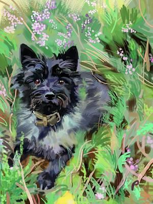 Terrier Digital Art - Pebbles by Plum Ovelgonne