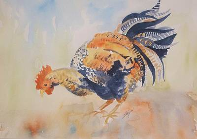 Painting - Pecking by Ellen Levinson