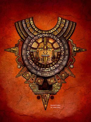 Calendars Mixed Media - Pectoral Azteca by Arturo Rios Mercado