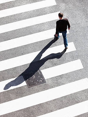 Pedestrain Crossing The Street On Zebra Print by Panoramic Images