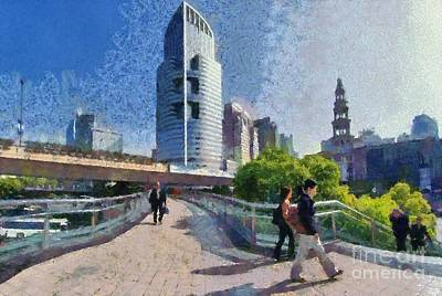Painting - Pedestrian Bridge In Shanghai by George Atsametakis