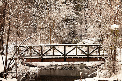 Photograph - Pedestrian Bridge In The Snow by Michael Porchik