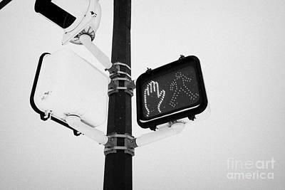pedestrian crosswalk red stop signal in the snow Saskatoon Saskatchewan Canada Art Print