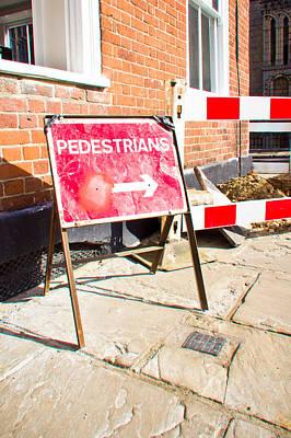 Safeguard Photograph - Pedestrian Sign by Tom Gowanlock