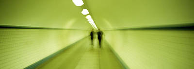 Green Tones Photograph - Pedestrian Tunnel, Blurred Motion by Panoramic Images