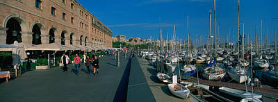 Pedestrian Walkway Along A Harbor Art Print by Panoramic Images