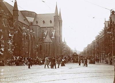 Pedestrians And Trams In Amsterdam Vondelstraat Print by Artokoloro
