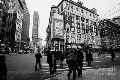 Pedestrians Cross Crosswalk Crossing Of 6th Avenue Broadway And 34th Street At Macys New York Usa Art Print by Joe Fox