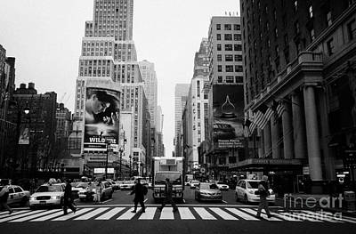 Pedestrians Crossing Cross Walk Between Pennsylvania Hotel And Penn Station On 7th Avenue New York Print by Joe Fox