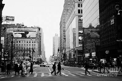 Pedestrians Crossing Crosswalk On West 34th Street And Sixth 6th Avenue At Herald Square New York Art Print by Joe Fox