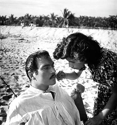 Pedro Armendariz With A Make-up Artist Art Print by Horst P. Horst