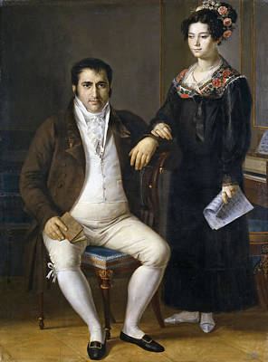 Pedro Benitez And His Daughter Maria De La Cruz Art Print by Rafael Tejeo Diaz