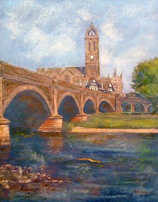 Painting - Peebles  Bridge Inn And Parish Church by Richard James Digance