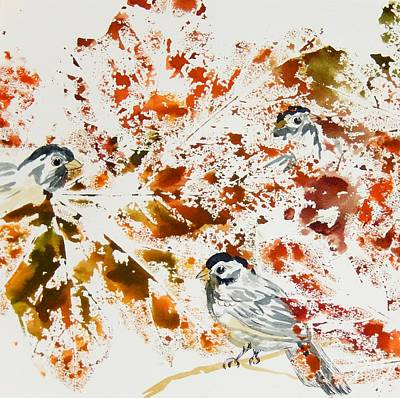 Painting - Peek A Boo Chickadees Square by Ellen Levinson